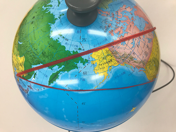 地球儀北朝鮮からアメリカ